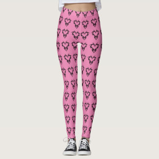 Baby Pink & Black Tribal Chakra Hearts Pattern Leggings