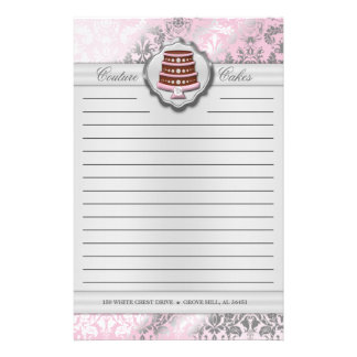 Baby Pink Cake Couture Damask Lined Business Stationery