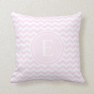 Baby Pink Chevron Customized Monogram Throw Pillow