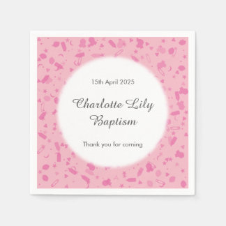 Baby Pink Confetti Baptism Christening Disposable Serviettes