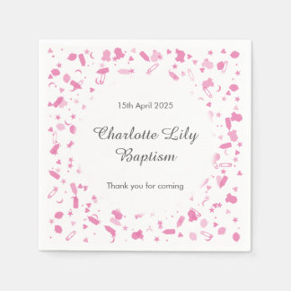 Baby Pink Confetti Baptism Christening Paper Napkins