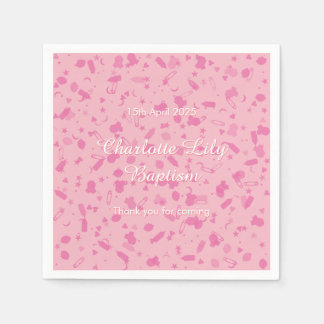 Baby Pink Confetti Baptism Christening Paper Serviettes