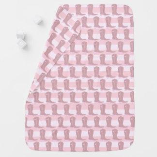 Baby Pink Cowgirl Cowboy Boot Blanket Receiving Blanket