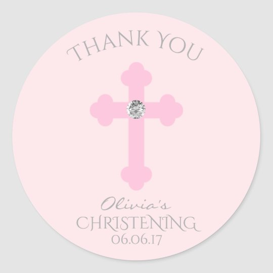 Sweet Pink Cross Note or Thank You cards ~Baptism