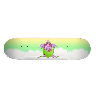 Baby Pink Dragon Cracked Egg Starry Sky Skateboard