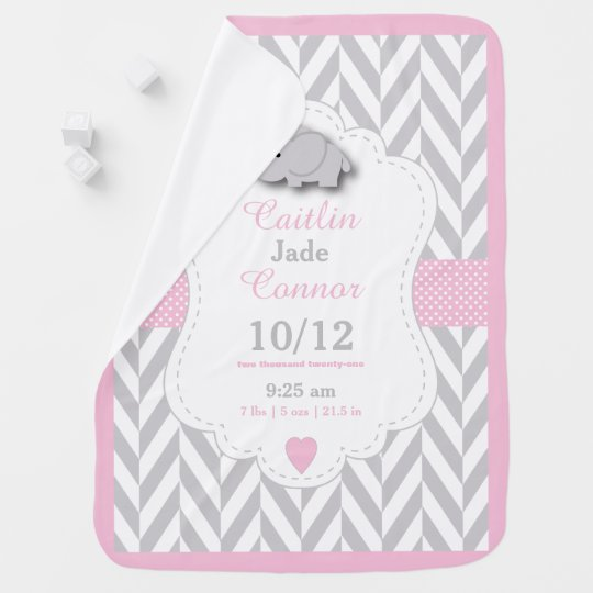 Baby Pink Elephant Birth Keepsake Design Baby Blanket