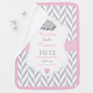 Baby Pink Elephant Birth Keepsake Design Receiving Blankets