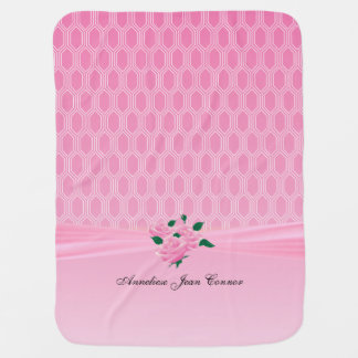 Baby Pink Geometric Designs with Pink Roses Baby Blanket