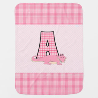 Baby Pink Gingham Checks Letter A Monogram Buggy Blanket