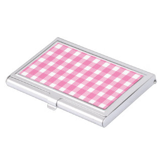 Baby pink gingham pattern business card holder