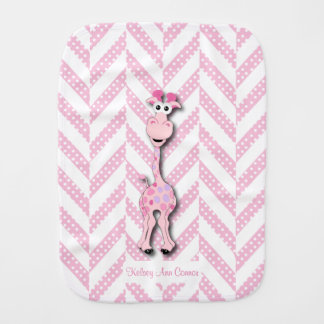 Baby Pink Giraffe Design Pattern Burp Cloth