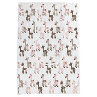 Baby Pink Giraffe Pattern Medium Gift Bag