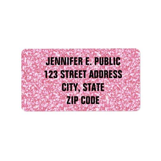 Baby Pink Glitter Printed Address Label