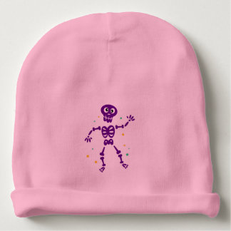 Baby pink hat with Skeleton Baby Beanie