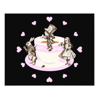 Baby Pink Hearts Around a Mad Tea Party 11.5 Cm X 14 Cm Flyer
