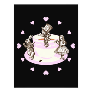 Baby Pink Hearts Around a Mad Tea Party 21.5 Cm X 28 Cm Flyer