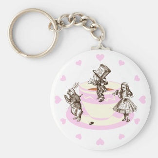 Baby Pink Hearts Around a Mad Tea Party Basic Round Button Key Ring