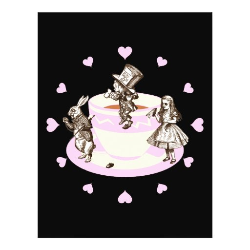 Baby Pink Hearts Around a Mad Tea Party Flyer Design