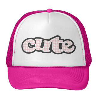 Baby Pink Houndstooth Mesh Hat
