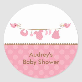 Baby Pink Laundry Line Stickers Stickers