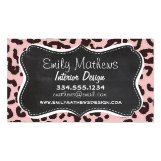 Baby Pink Leopard Animal Print Chalkboard Business Card Template
