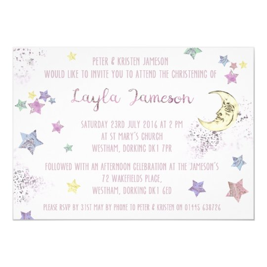 Baby Pink Moon and Stars Party Invitation