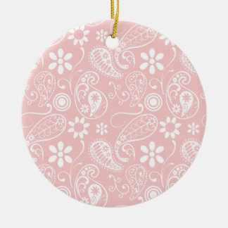 Baby Pink Paisley Double-Sided Ceramic Round Christmas Ornament