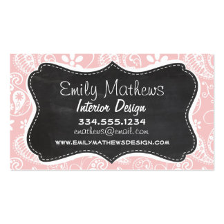 Baby Pink Paisley Vintage Chalkboard look Business Card Templates