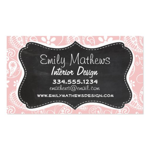 Baby Pink Paisley; Vintage Chalkboard look Business Card Templates