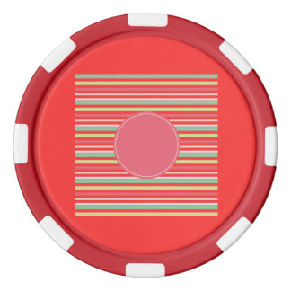 Baby Pink Pastel Mint Green Blue Stripes Circle Poker Chips