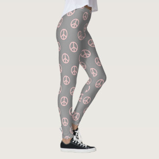 Baby Pink Peace Symbol on Dove Grey Leggings