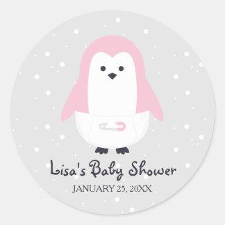 Baby Pink Penguin Baby Shower Sticker