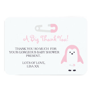 Baby Pink Penguin Thank You Card