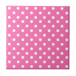 Baby pink polka dot pattern small square tile