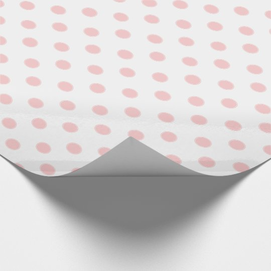 Baby Pink Polka Dots on White Wrapping Paper