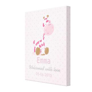 Baby Pink Safari Giraffe - Baby Shower or nursery Canvas Prints