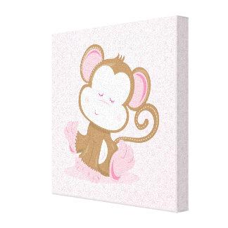 Baby Pink Safari Sleppy Monkey Gallery Wrap Canvas