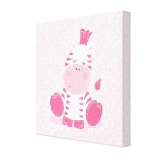 Baby Pink Safari Sleppy Zebra Stretched Canvas Prints
