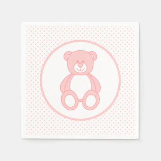 Baby Pink Teddy Bear Paper Napkins