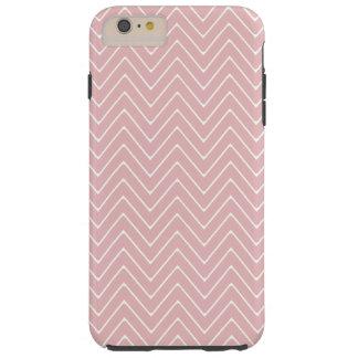 Baby Pink White Chevron Pattern 2A Tough iPhone 6 Plus Case