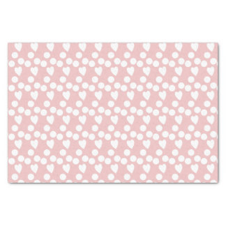 Baby pink white dots & hearts tissue paper