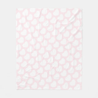 Baby Pink White Heart Valentine Fleece Blanket