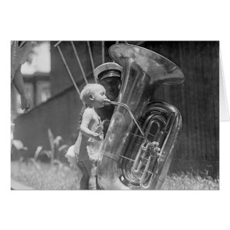 Baby Playing Tuba, 1923 Greeting Card