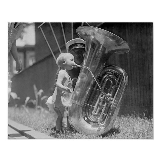 Baby Playing Tuba, 1923. Vintage Photo Poster