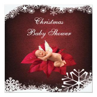 Baby & Poinsettia Elegant Christmas Baby Shower Card