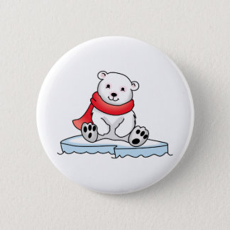 BABY POLAR BEAR 6 CM ROUND BADGE