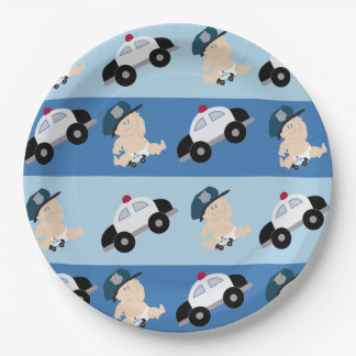 Baby Police Officer Cop Car Custom Paper Plate