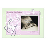 Baby Pony and Butterflies Girl Birth Announcement 13 Cm X 18 Cm Invitation Card