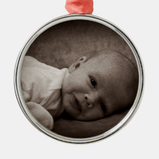 Baby portrait Silver-Colored round decoration