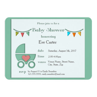 Baby Pram Papercut Style Baby Shower Card